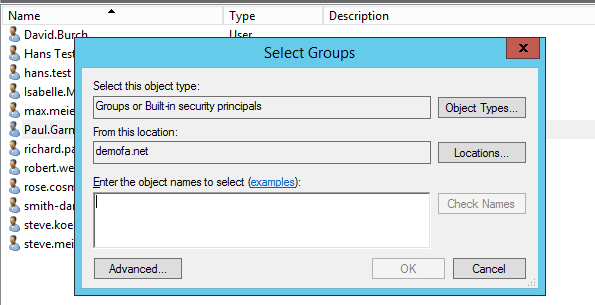 Select Permission Group - Location Permissions in Active Directory