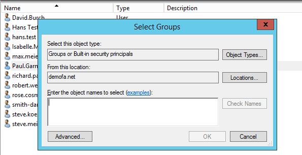 Berechtigungs-Gruppe auswählen - Standortberechtigungen im ActiveDirectory