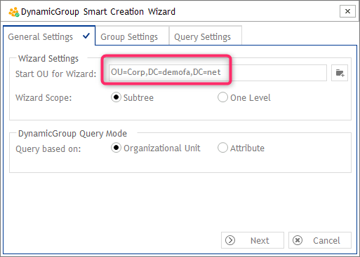 Settings- DynamicGroup Smart Creation Wizard