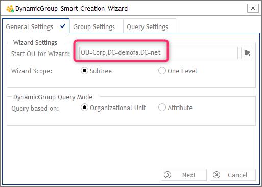 Einstellungen - DynamicGroup Smart Creation Wizard
