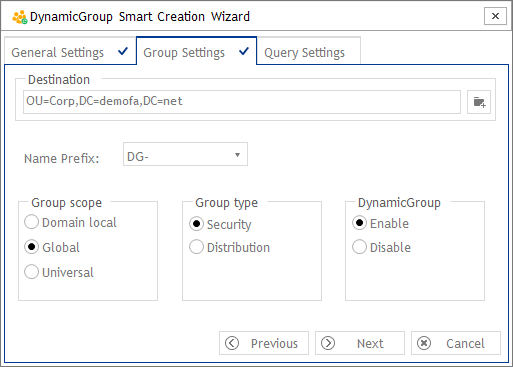 Group settings - DynamicGroup Smart Creation Wizard