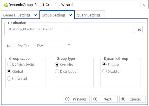 Gruppen Einstellungen - DynamicGroup Smart Creation Wizard