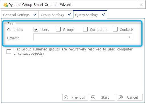 Query Settings - DynamicGroup Smart Creation Wizard